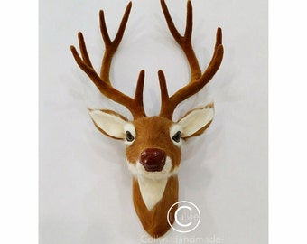 Reindeer Head Wall Mount -Brown Antlers