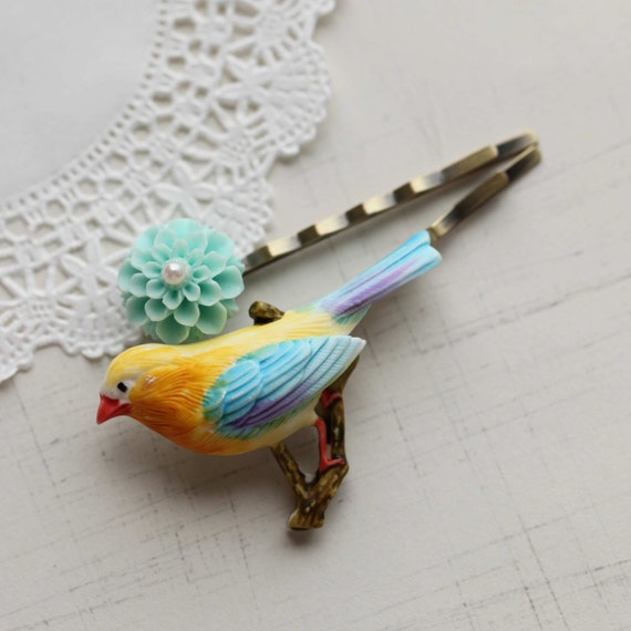 FMJ Creation: funny and cute. bird and flower bobbi pin.