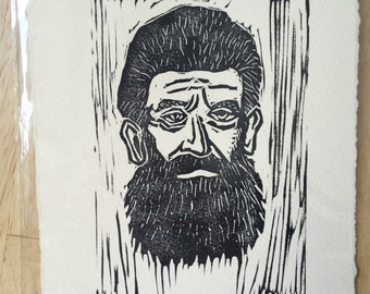 Old John Brown, Handmade linocut print, 6 inches by 8 inches