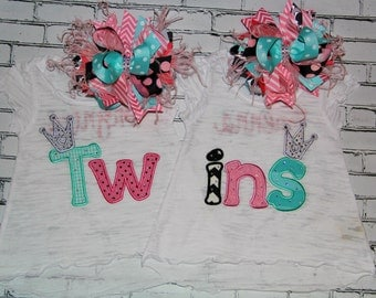 Twins Embroidery design 4x4 5x5 6x10 socuteappliques, applique crown, twins embroidery, new baby embroidery, baby girl applique, sisters