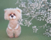 Little pocket miniature bear - 3.5 inch. Hand sewn. Brown, beige, white, black - MADE TO ORDER - Exact repetition is impossible