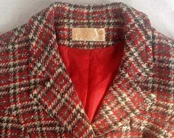 Vintage 60s Pendleton Plaid Wool Jacket Red Gray White