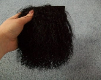 Black tibetan lamb wool hair for fairy art doll wig making