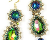 """Decadent Earrings instant download pattern, oval and teardrop cabochons bezeled and decorated, 2.25"""" long, graphics, photos, video links"""