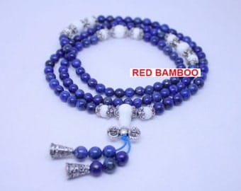 108 Natural Lapis Lazuli Buddhist Prayer Bead Bracelet