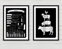 Any 2 Kitchen Posters - Meat Cuts, Kitchen Conversions, Types of Knives, Vegetables Cooking Times, art print 8x10 12x16 16x20 A4 A3