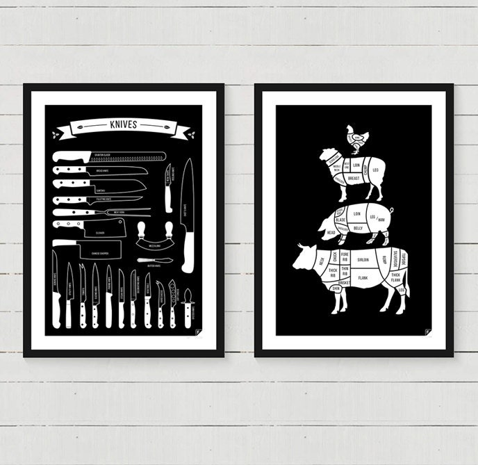 Kitchen Art Prints: Any 2 Kitchen Posters Meat Cuts Kitchen Conversions Types