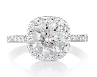 2.65 CT Round Cut d/si1 Diamond Solitaire Engagement Ring 14k White Gold