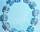 Ladies Bracelet - Venetian Wedding Cake Beads - Blue w/ Pink & White