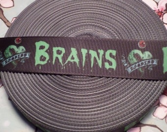 Zombie Brains Grosgrain Ribbon