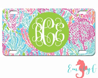 Monogrammed Lilly Pulitzer Inspired Car Tag Personalized License Plate