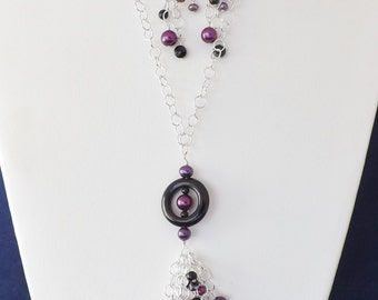 """30"""" Sterling silver chain and fresh water pearl and Onyx bead cluster necklace and earrings."""