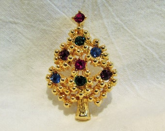 Vintage Eisenberg Ice Christmas Tree Brooch Collectible / Marked Half Price Sale Item