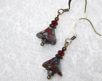 dark red bellflower earrings