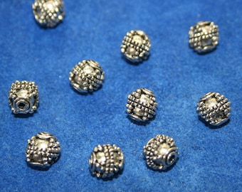 Pewter Beads Bali Style Beads  12 beads   (7 mm)