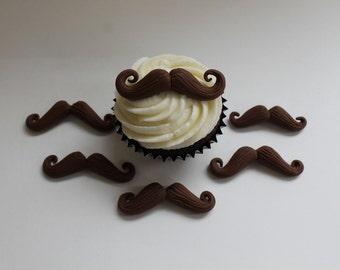 Chocolate Fondant Twirly Mustaches, 12 pack