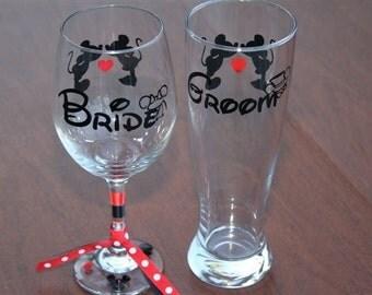 Disney Bride Wine Glass & Groom Pilsner Beer Glass Wedding Set