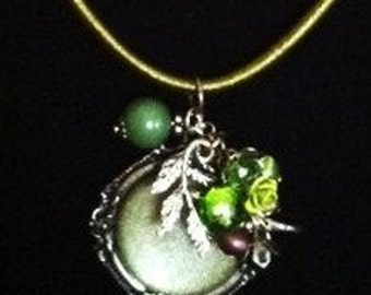 Fall inspired pendant on cotton necklace base