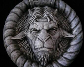 Occult Mythological Demon wall prop Statue, Halloween, Horror, Prop.