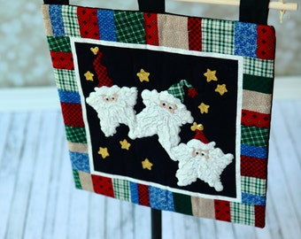 Christmas Quilt Wall Hanging ,  Santa Christmas Wall decor . Ready to ship.