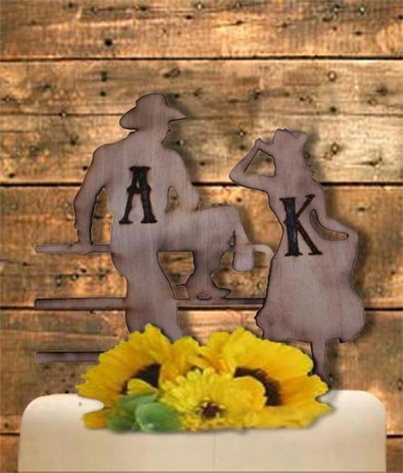customizable cowboy wedding cake topper