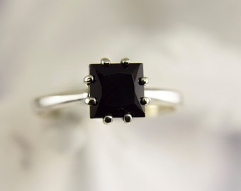 Black Spinel Square Solitaire Ring