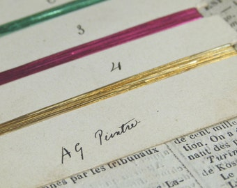 Two antique French salesman sample cards from early 1900s w/ vibrant coloured lame thread, beautiful handwriting. scrapbooking, collection