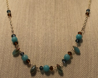 Simple blue and brown beaded necklace