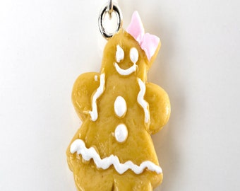 gingerbread cookie necklace-christmas cookie necklace, miniature food jewelry, food necklace