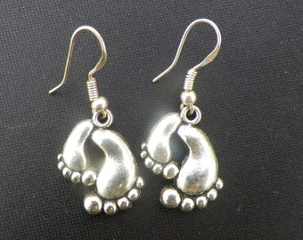 Bare Feet Silver Earrings