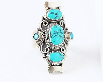 Tibetan Handcrafted Bohemian Turquoise Ring.