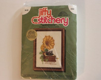"Vintage crewel embroidery kit: #390 ""Gramophone"" by Sunset"
