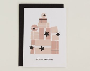 Merry Christmas - gifts and presents illustrated greeting card