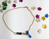Simple necklace // infinity necklace // modern charm necklace // blue necklace // gold necklace // handmade