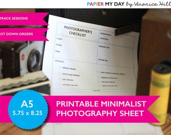 A5 Filofax Photography Planner - Minimalist Design - Letter Sized Photographer's Planner