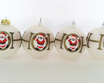 The Ho is for Holiday Vintage Hand Painted Frosted Glass Ball Christmas Tree Ornaments (Set of 4):Christmas Decorations