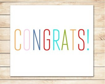 Printable Greeting Card - Instant Download Card - Congratulations Card - Congrats Card