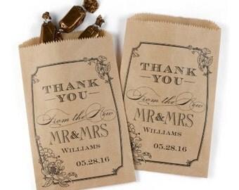 Vintage Look Personalized Rustic Wedding Favor Bags