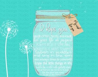 Turquoise My Wish Mason Jar Wall Art