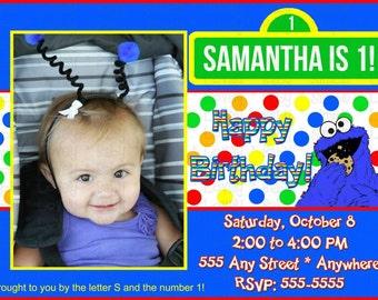 Cookie Monster Photo Birthday Invitation