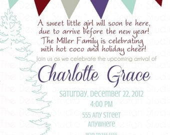 Chevron and Pennant Christmas Baby Shower Invitation