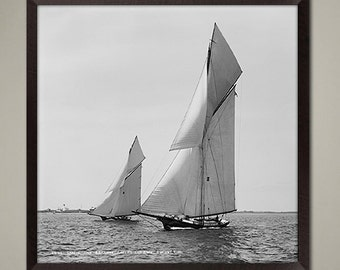 Vintage Sailboat Art Print - classic Sloop Yacht in the late 1800's. One of a set of 4 racing vessels. Great nautical decor