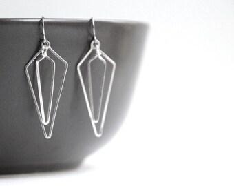 Silver Geometric Earrings - art deco jewelry, simple everyday minimalist arrow shape earring, gift for mom and wife - Linked Arrows Down