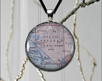 Nevada Map Necklace Etsy