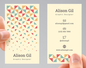 Falling Triangles Business Card Template, Digital File. BCTB