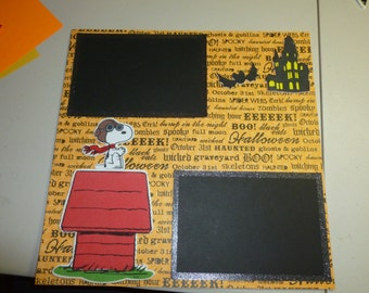Snoopy/Peanuts Halloween Theme Scrapbook Page Layouts 4- 12x12 layouts and embellishment kit