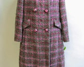 Adolphe Zelinka Designer, BOUCLE Woven MOHAIR KNIT, Vintage 1960's Mod Coat, size 6-8, Medium