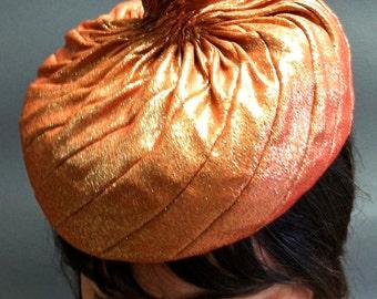 Unusual 1950's Vintage, HATTIE CARNEGIE Original, for Marshall Field & Co. w Luxe Lame Fabric Fascinator Hat