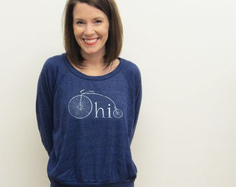 Ohio Bike Womens Pullover, Slouchy Pullover Top, Screenprinted, Vintage Bike