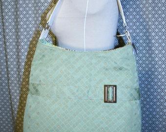 Pale Green Fabric Tote Bag, Commuter Bag, Fabric Work Tote Bag - Chelsea Bag